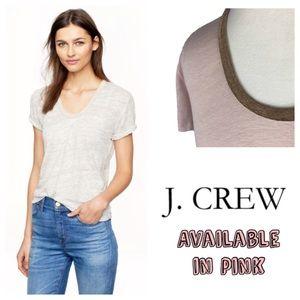 J. Crew Gold Metallic Trim Linen Scoop neck Tee